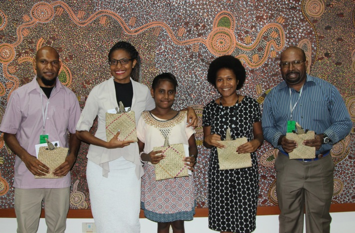 Winners From The Crocodile Prize PNG 2016 Competition, (from left): Wardly D Barry-Igivisa, Alison Kult, MaryCatherine Tavore, Theresa Gizoria and John Kamasua