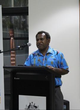 Baka Bina, a member of the Crocodile Prize Voluntary Organising Committee giving a speech