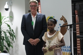 Mr Gudmundor Fridriksson and the winner of the Writing for Children Category, MaryCatherine Tavore