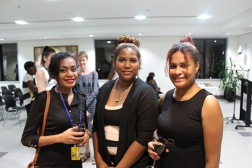Sheryl Marjen, Catherine Avaisa and Natalie Misirait, supporters of the Crocodile Prize Literary Competition