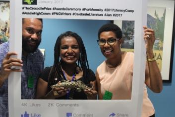 Andrew Doonar, Solitaire Paglipari and Pukari Peni, supporters of the Crocodile Prize